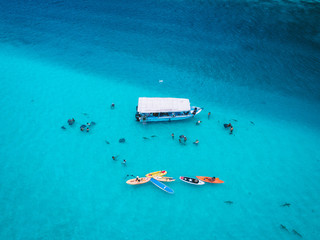 Group of people and stingrays in sea, aerial view, Mo'orea, South Pacific