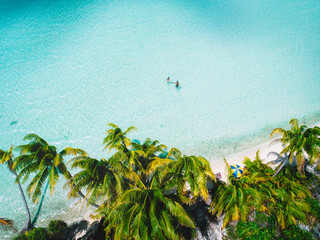 Couple holding hands in sea, aerial view, Mo'orea, South Pacific