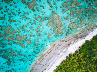 Aerial view of island coastline, Tahiti, South Pacific