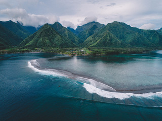 Aerial view of island, Teahupoo, Tahiti South Pacific