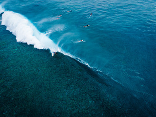 Aerial view of people paddling out to sea on surfboards, Teahupoo, Tahiti, South Pacific
