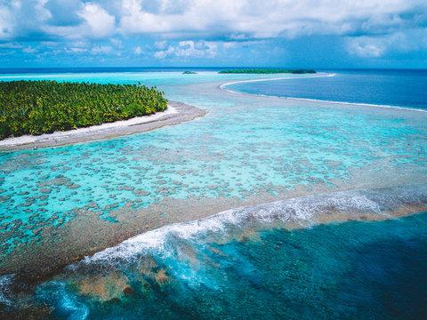 Aerial view of island coastline, Tahiti, South Pacific