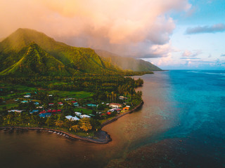 Island and coastline, Teahupoo, Tahiti, South Pacific