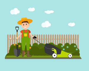 Garden Background Vector Illustration. Farmer GarGarden Backgrou