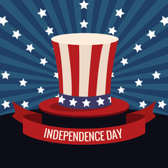 independence day usa hat flag and stars vector illustration eps 10