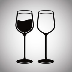 pair glassware wine image vector illustration eps 10