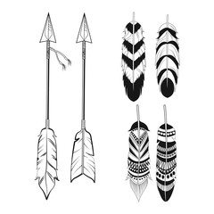 free spirit feathers and arrows ornament vector illustration eps 10