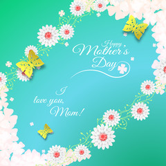 Vector poster of Happy Mother's Day on the gradient green and blue background with curly branches of flowers, butterflies, text, leaf silhouettes, flowers.