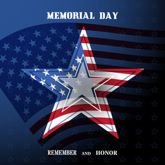 Vector poster of Memorial Day with transparency star, shadow, usa flag and text on the dark blue gradient background.
