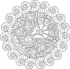 Black and white pattern for adult coloring book. Vector elements for design. Good for design of wrapping and textile.