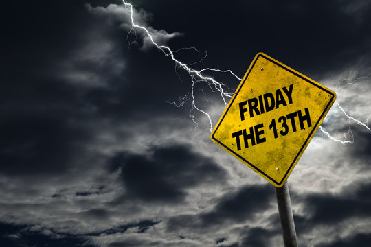 Friday the 13th Sign With Stormy Background