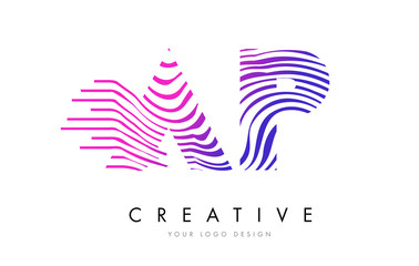 AP A P Zebra Lines Letter Logo Design with Magenta Colors