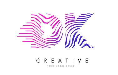 DK D K Zebra Lines Letter Logo Design with Magenta Colors