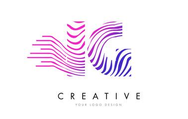 IG I Q Zebra Lines Letter Logo Design with Magenta Colors