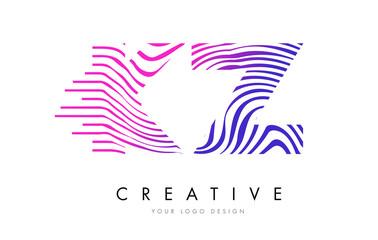 KZ K Z Zebra Lines Letter Logo Design with Magenta Colors