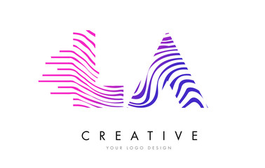 LA L A Zebra Lines Letter Logo Design with Magenta Colors
