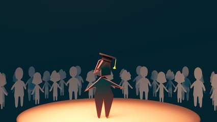 3d rendering picture of cartoon people silhouettes. Group of students celebrating graduation.