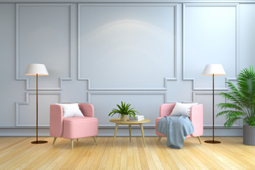 minimalist room interior design , Contemporary furniture,pink armchair and  white  lamp on wood flooring and white wall /3d render