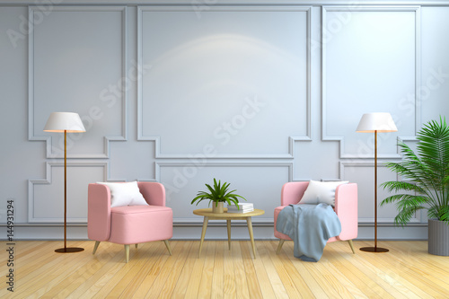 Minimalist Room Interior Design , Contemporary Furniture,pink Armchair And  White Lamp On Wood Flooring