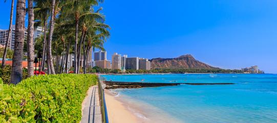 Panoramic view onto Diamond Head in Waikiki Hawaii