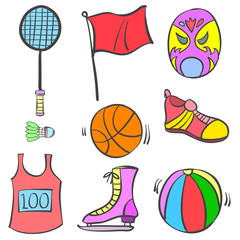Sport equipment object of doodles