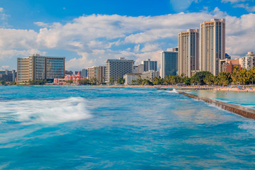 Waikiki beach and  Honolulu skyline in Hawaii
