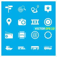 Set of 16 Mix Icons on Blue Background. EPS 10
