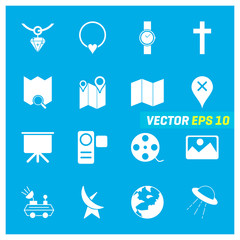 Set of 16 Mix Icons on Blue Background. EPS 10