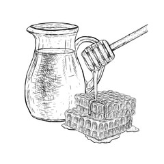 Hand drawn set of milk and honey. Vector sketch