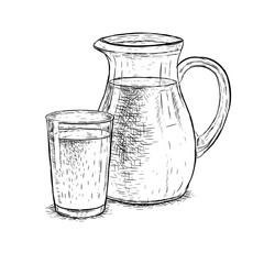 Hand drawn milk jug and glass of milk. Vector sketch
