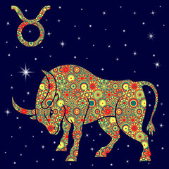 Zodiac sign Taurus with variegated lowers fill over starry sky
