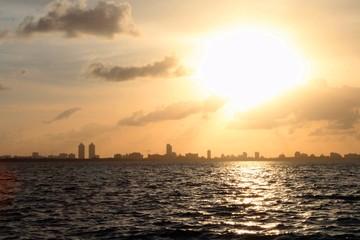 Aerial View of Sunrise Over Miami Beach Florida