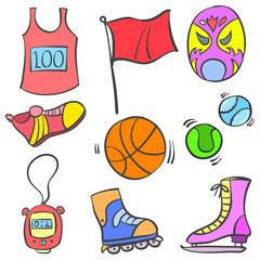 Vector illustration sport equipment doodles