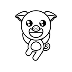 cartoon pig animal outline vector illustration eps 10