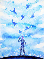 man and flying birds free, relax mind with open sky, abstract watercolor painting design illustration background