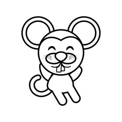 cartoon mouse animal outline vector illustration eps 10