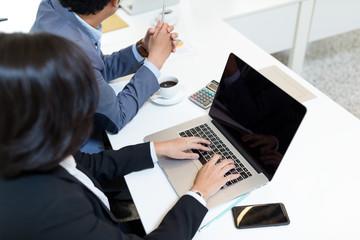 Top view of business people in meeting room