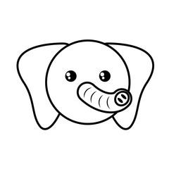 face elephant animal outline vector illustration eps 10