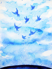 flying birds free, relax mind with open sky, abstract watercolor painting design illustration background