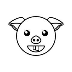 pig face animal outline vector illustration eps 10