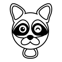 outline raccoon head animal vector illustration eps 10