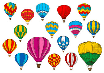 Vector icons sport sketch patterned air balloons