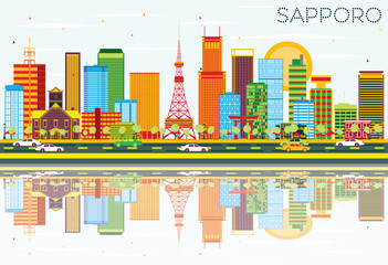 Sapporo Skyline with Color Buildings, Blue Sky and Reflections.