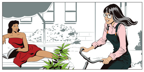 Girl on a Bicycle, riding in the yard. People in retro style.