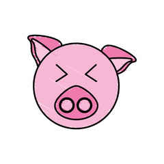 drawing piggy face animal vector illustration eps 10