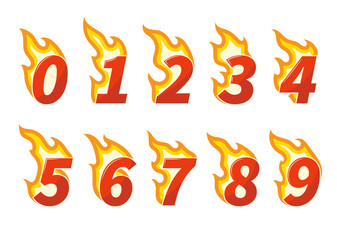 Collection of red burning fiery numbers vector illustration