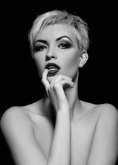 beautiful woman with short hair.