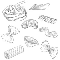 Pasta mix. Hand drawn sketch. Scattered single pieces