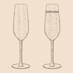 Champagne glass. Empty and full. Hand drawn sketch
