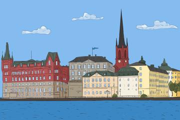 Old city landscape. Stockholm. Vector illustration